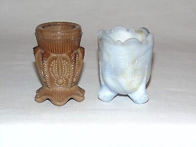 2 Vintage Antique American Footed Slag Glass Toothpick Holders