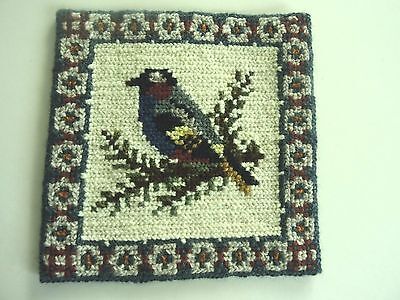 Swedish vintage handembroidered wool tapestry picture of a bird