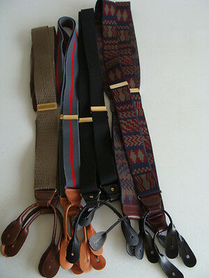 Men's Suspenders Lot Of 4 Pairs With Leather Button Fittings - Vguc