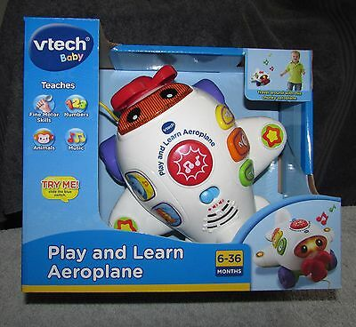 NEW - Vtech Baby - Play & Learn Aeroplane - Numbers Music Animals - Pull Along