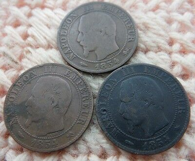 France 1954, 1854, 1854 5 Centimes Napoleon All Different Lot of 3
