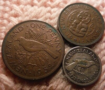 New Zealand 1952 Penny, 1941 1/2 Penny, 1933 Silver Sixpence Lot of 3