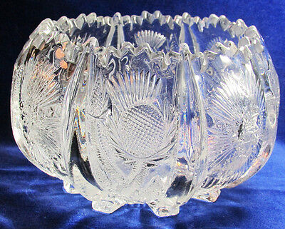 c1905 Higbee Glass Panelled Thistle EAPG Pressed Glass Rose Bowl