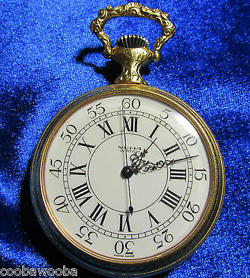c1960 Numa Swiss Made Pocket Watch 17 Jewels Equestrian Case Needs Cleaning
