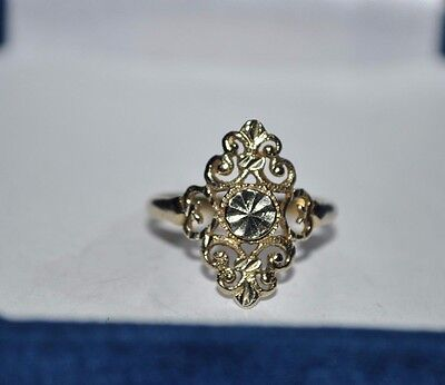 Beverly Hills 14k Yellow Gold Diamond Cut Filigree Ladies Ring Size 7.75