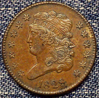 1828 Classic Head Half Cent 1/2C C-1 13 Stars Brown AU+++ Coin