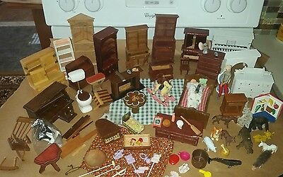 Vintage Lot of Miniature Doll House Furniture & Accessories wood & MORE #1