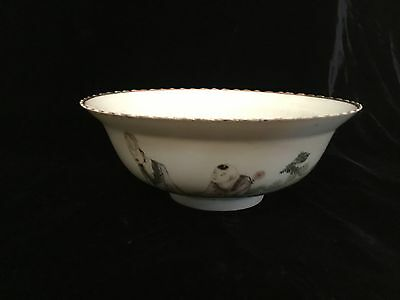 "antique Chinese porcelain Famille Verte bowl scholar child Qing 19thC 7.5"" markd"