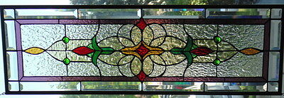 """Stained Glass window Transom or Sidelight hanging 36 X 12"""""""