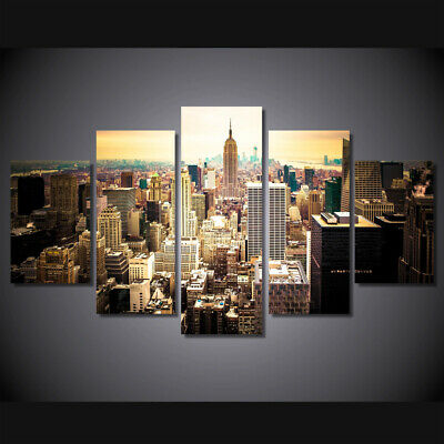 Framed Home Decor Canvas Print Painting Wall Art New York City Cityscape 5Pcs