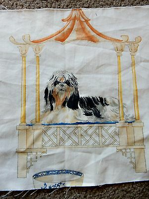 Rare Shih Tzu Dog  3 Cotton Fabric Pieces For Crafts  Quilting Decorating