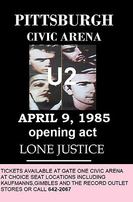 U2 - Pittsburgh Civic Arena April 9 1985  High Gloss Laminated Poster 11 By 17