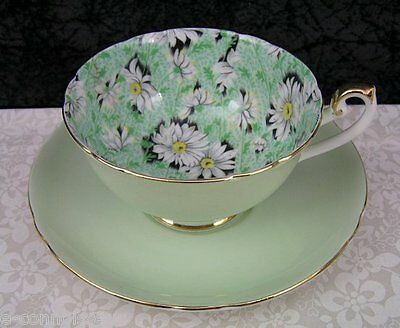 Vintage Shelley Lincoln Green Daisy Chintz Bone China Tea Cup & Saucer