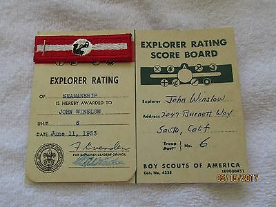 Vintage Boy Scouts of America Explorer Score Card and Seamanship Badge