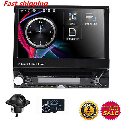 Camera Dash Radio GPS Single DIN Flip Out 7 inch Touch UI DVD CD Car Stereo am