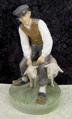 c. 1958 Vintage Royal Copenhagen Porcelain #627 Shepherd w/ Sheep Figurine - 1st