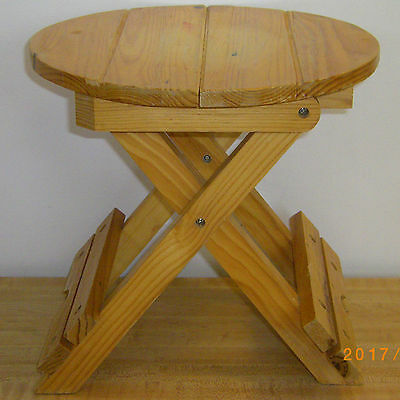 """Retro Folding Wooden Stool Small Table 9.5"""" High 9.75"""" Tabletop/seat Handles"""
