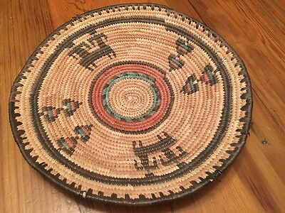 """Vintage Coiled Grass Nigerian HAUSA BASKET Tray Hand Made 14"""" Africa"""
