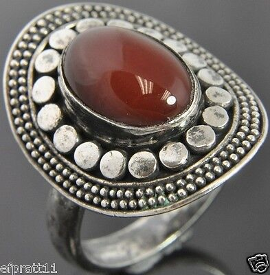 Bali Indonesia Sterling Silver Carnelian Milgrain Halo Oval Cocktail Ring Sz 9