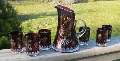 7 Pc Vintage Bohemian Czech Ruby Cut to Clear Glasses GLASS PITCHER TUMBLER SET