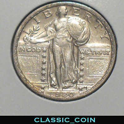 NICE 1920 SILVER STANDING LIBERTY QUARTER 25c AU DETAILS FREE SHIPPING
