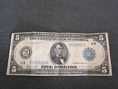 1914 $5. Federal Reserve Note FR 850A Large Sz. Currency Burke / Houston
