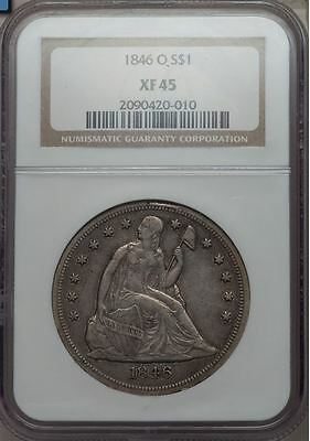 1846-O Liberty Seated Dollar $1 - NGC XF45 - 1st New Orleans Mint Silver Dollar