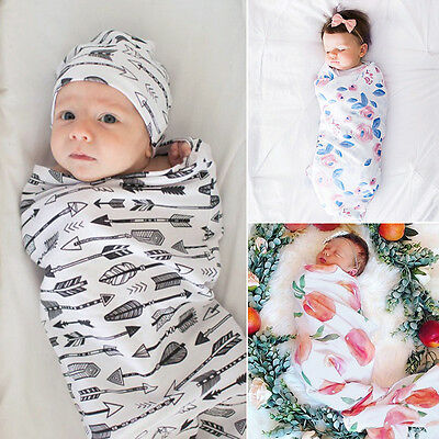 Newborn Infant Baby Swaddle Blanket Kids Sleeping Boys Girl Muslin Wrap Headband