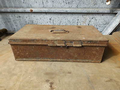 Unusual Vintage Shabby Black Metal Deed / Storage Box