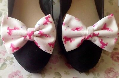 New Pair White Pink Fantasy Unicorn Print Cotton Bow Shoe Clips Vintage Retro
