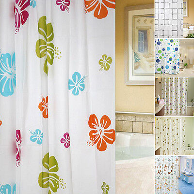 Various Fabric Bathroom Shower Curtain with Ring Hooks Set Waterproof 180x200cm