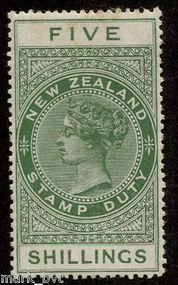 New Zealand NZ 5/- Green QV long-type postal fiscal Mint
