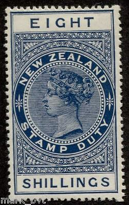 New Zealand NZ 8/- Blue QV long-type postal fiscal Mint