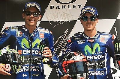 MOTO GP Maverick Vinales & Valentino Rossi Original Hand Signed Photo 12x8 COA