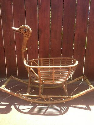 Beautiful Large Custom Made Vintage Wicker Rocking Goose Duck