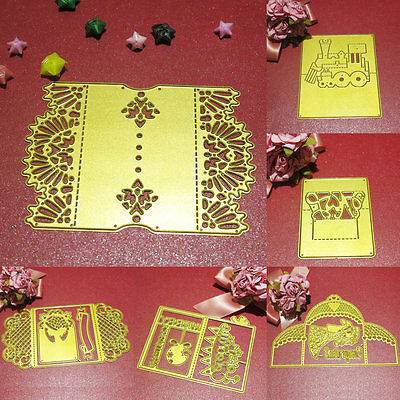 1Pc DIY Golden Lace Card Metal Cutting Dies Scrapbook Album Craft Embossing Card