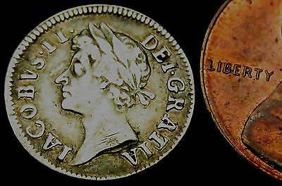 S840: 1686 James II Silver Twopence - totally UNRECORDED variety - A over P or R