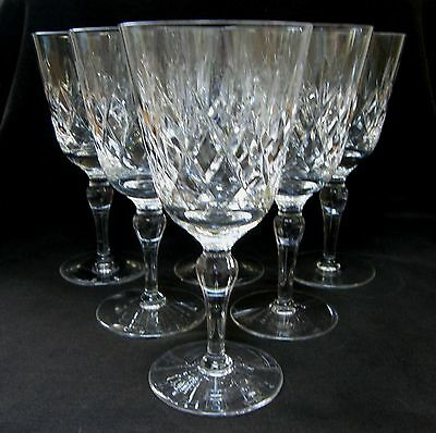STUART Tintern set of six large cut crystal water goblets/wine glasses ~ SIGNED