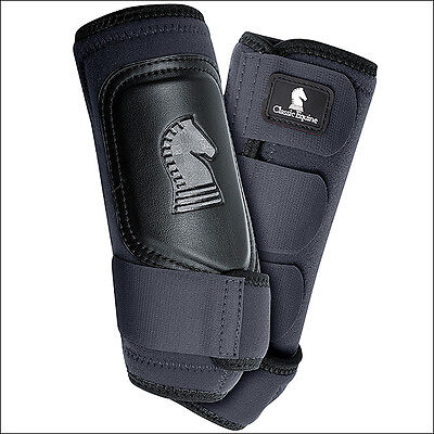 Small Classic Equine Crossfit Neoprene Horse Front Leg Boots Pair Black