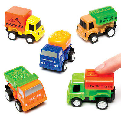 6 Construction Truck Pull Back Racers for Children to Make. Craft Toy for Kids