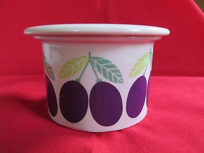 Vintage Arabia Finland Lidded Pot Jam ? Jar ? Plum decoration