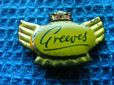 GREEVES motorcycle ...very old pin badge for lapel,hat ..Great Britain (A).