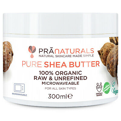 PraNaturals Shea Butter Organic Raw Unrefined Skin Body Face Moisturiser | 300ml