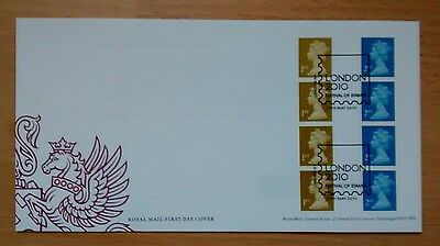 U3001 3002 2010 Machin coil strips of 4 1st & 2nd gummed with security print FDC