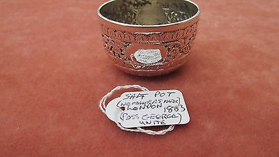 A Superb Solid Silver Repousse Designed Open Salt Pot Hallmarked London 1883