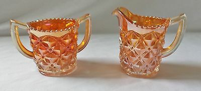 Beautiful Vintage Marigold Carnival Glass Creamer Set - Imperial Heavy Diamonds