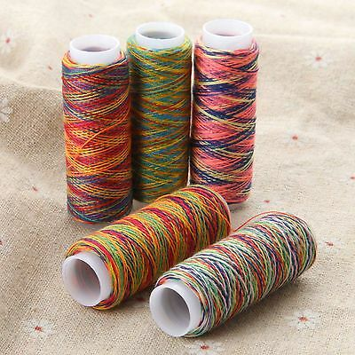 5 Spools of Sewing Machine Threads Polyester Art Embroidery String Stitching