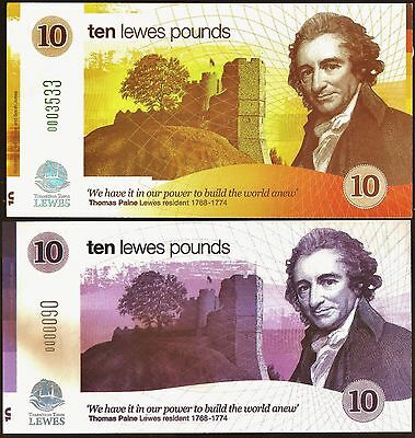 England / Lewes :  1st. & 2nd. Series £10's, 2 piece  Banknote Set, both UNC.