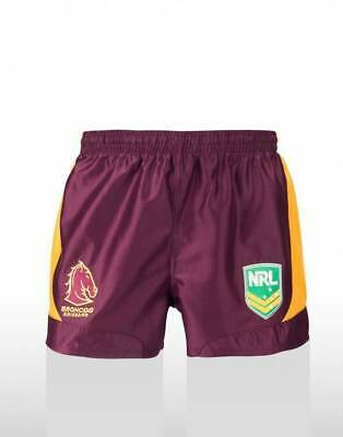 Brisbane Broncos NRL Supporters On Field Footy Shorts Adult & Kids Sizes! ISC