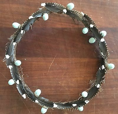 Wicker Wreath Guinea Fowl Feathers Speckled Egg Door Easter Decoration Gift